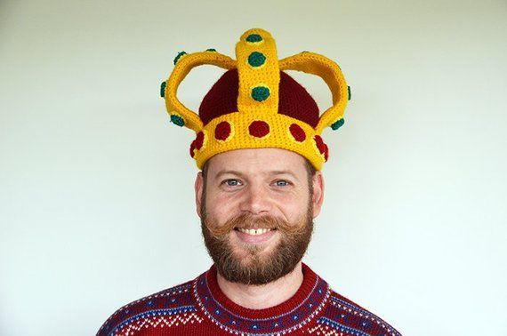 "Royal Crown Crochet Pattern, Imperial Crown Hat Pattern, DIY Hat PDF Tutorial, Funny Crochet Hat Pattern, King's Hat, Queen's Hat #queenshats *** PLEASE NOTE: This is a digital crochet pattern, not the physical item itself ***We can finally all be royals with the help of this crochet pattern for a King's or Queen's Imperial Crown! 8)Size of finished item:When made with the described yarn and hook size, thecrown will be suitable for a head circumference of52cm/22"".Needed materials to make this #queenshats"