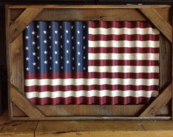 American Flag Painted On Corrugated Metal And Framed In