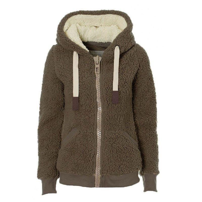 New Look Women Hooded Zip Sweatshirt Winter  Fleece Hoody Hoodie Burgundy 12 14