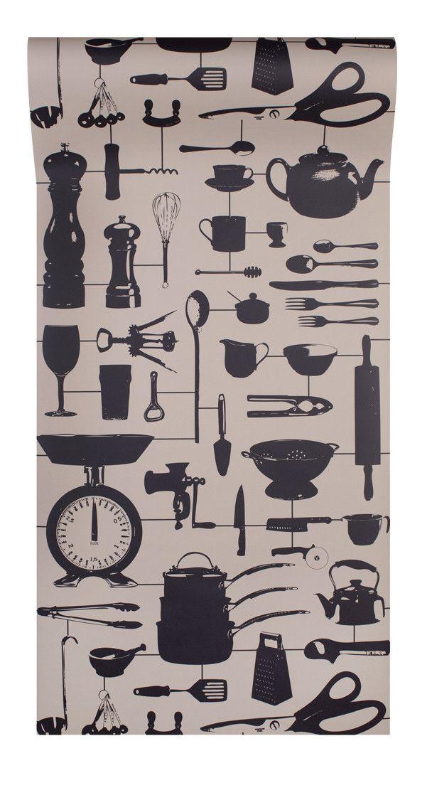 Airfix Kitchen Wallpaper Taupe