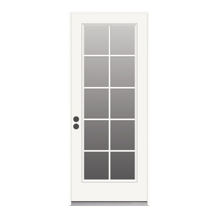 Jeld Wen 1 Panel Insulating Core 10 Lite Right Hand Inswing Steel Primed Prehung Entry Door Common 32 In X Entry Doors Reliabilt French Doors Patio