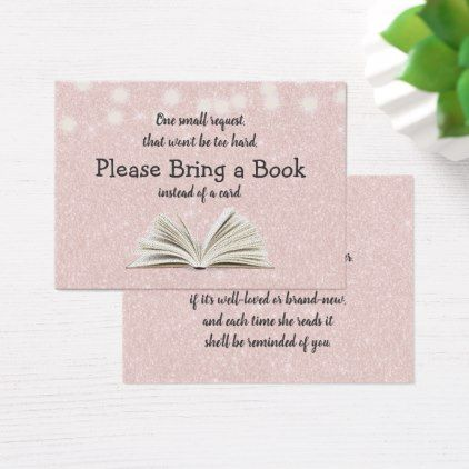 Bring a Book Baby Shower Pink Book Request Insert - baby gifts - baby shower agenda template