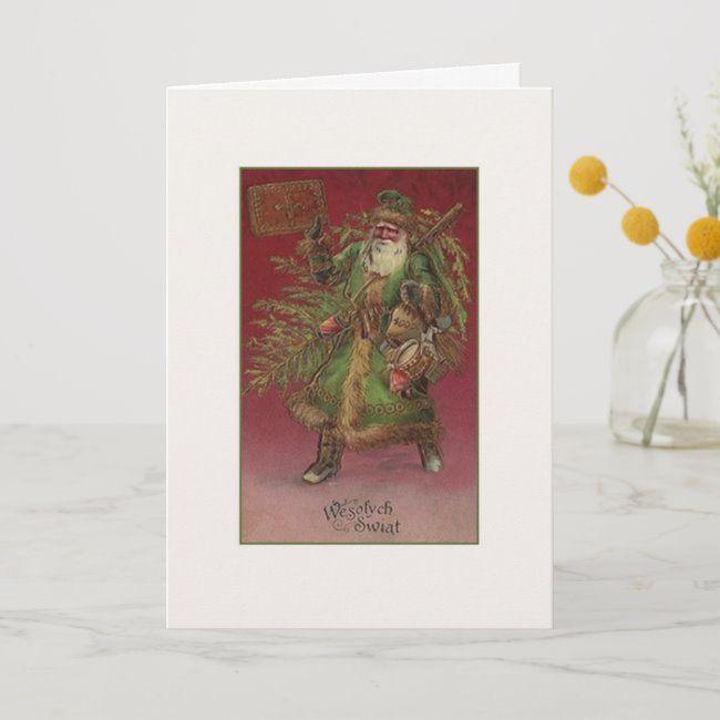 Vintage Polish Wesołych Świąt Christmas Card | Zazzle.com