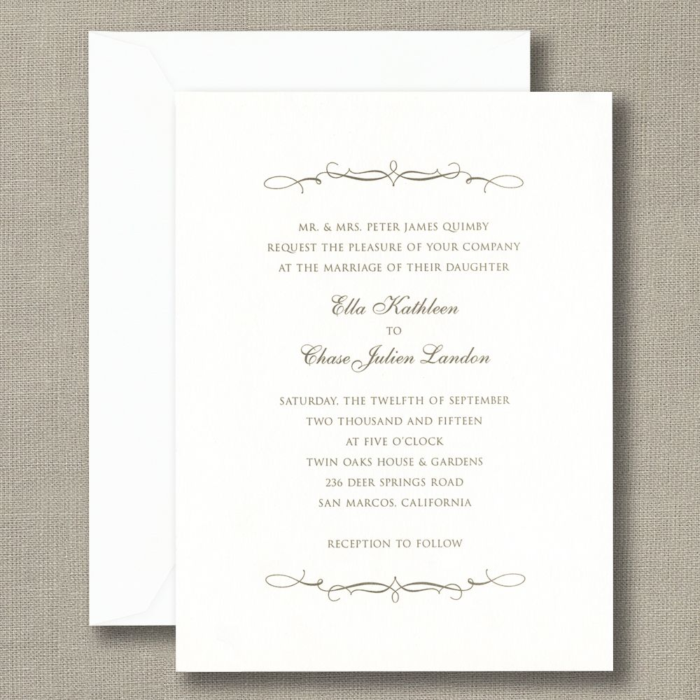 Scroll Bracket Bright White Wedding Invitations Simply Elegant And