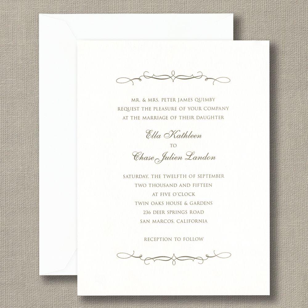 Scroll Bracket Bright White Wedding Invitations Simply Elegant And