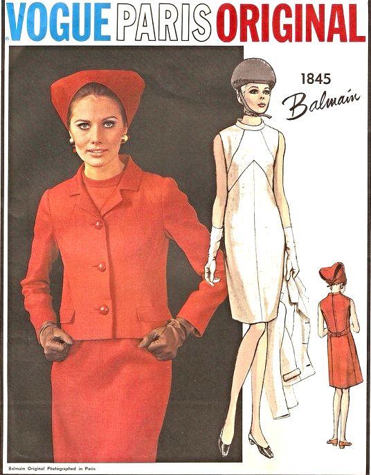 Mod 60s Balmain Dress And Jacket Pattern Vogue Paris Original 1845