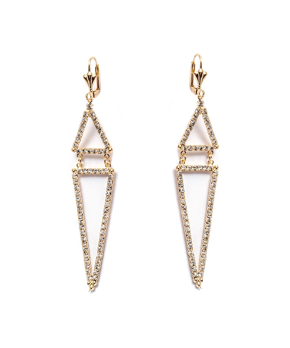 Open Triangle 18K Gold Diamond Earrings Established zjHJDr