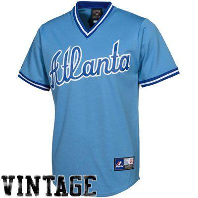 Majestic Atlanta Braves Cooperstown Throwback Jersey Light Blue Atlanta Braves Jersey Atlanta Braves Atlanta Braves Apparel