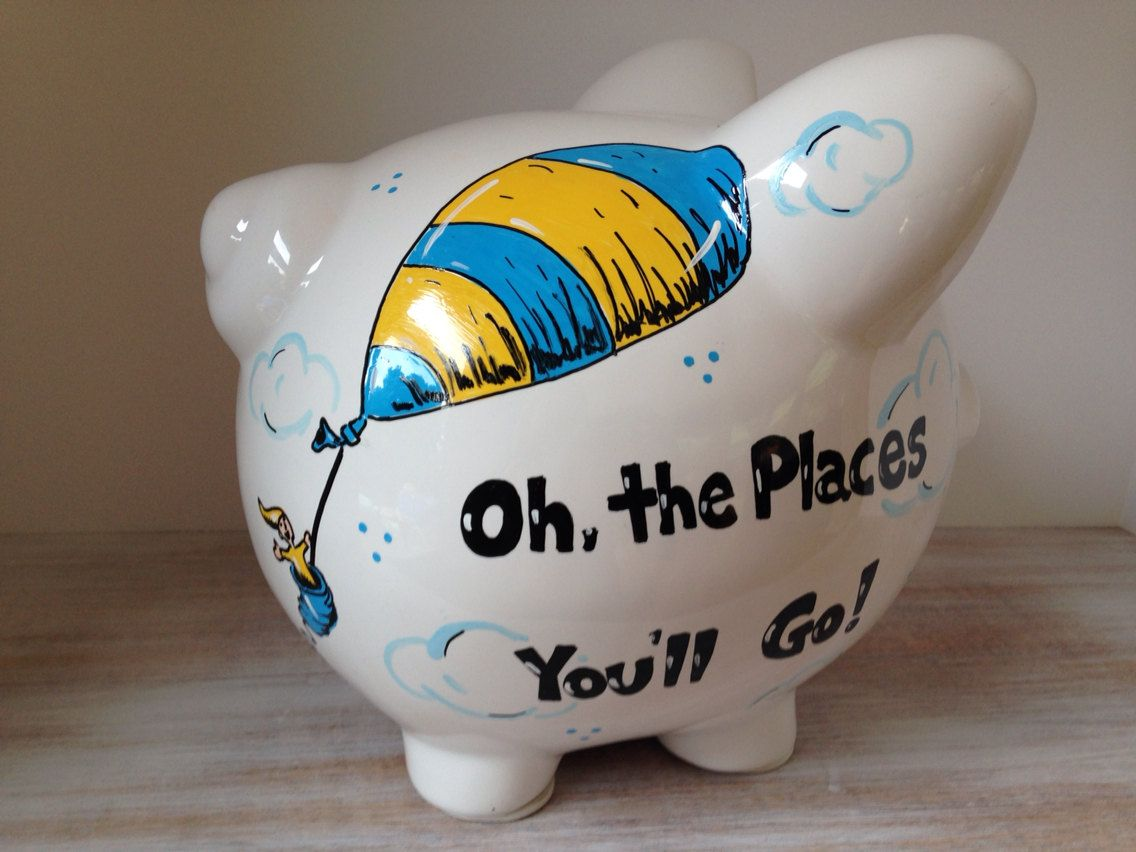 Piggy Bank Idea Personalized Hand Painted Piggy Bank With Dr Seuss Theme