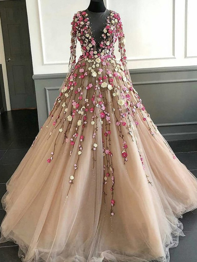 Long Sleeve Prom Dresses A Line Hand Made Flower Floor Length Long Beautiful Prom Dress Jkl1494 Floral Prom Dresses Senior Prom Dresses Fairy Prom Dress [ 1024 x 768 Pixel ]
