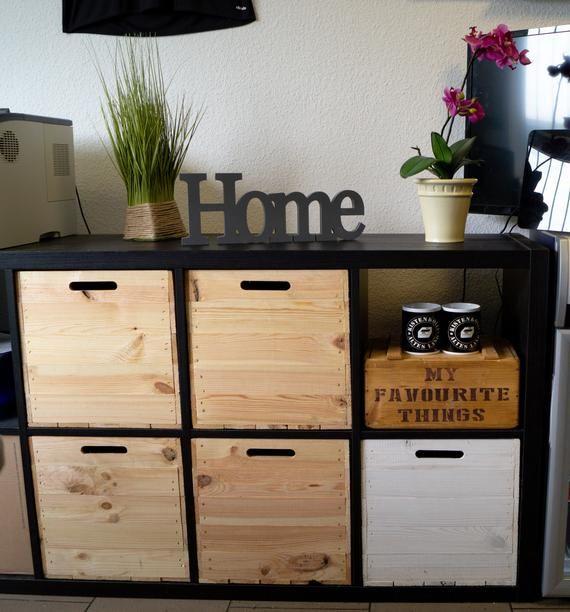 Set of 3 wooden box nature suitable for Kallax and Expeditregale Kallaxkiste wine box shelf box Stor