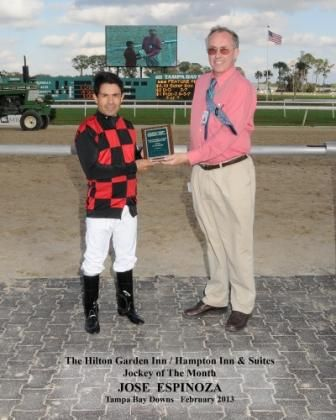 Congratulations Jose Espinoza on being awarded Tampa Bay Downs' Jockey of the Month!  (February 2013)