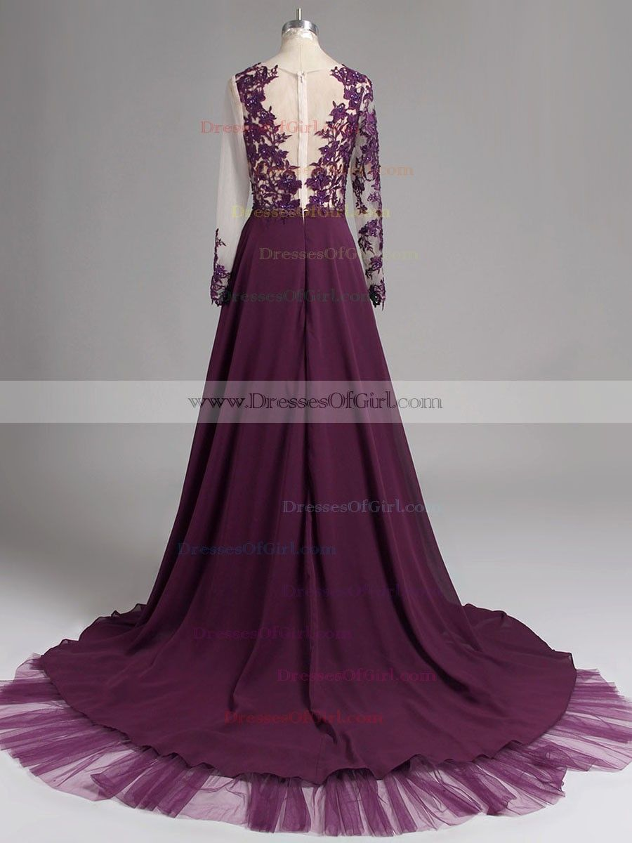 Sexy Black Prom Dresses, Cheap Prom Dress with Alluring Front Split ,Simple Long Party Dresses,Long Sleeve Prom Dress, #020102059 - Thumbnail 4