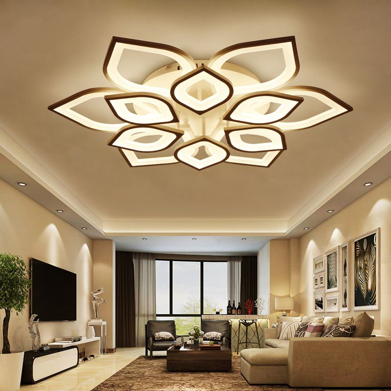 Fashion Modern Led Ceiling Lights 36w 160w Acrylic Metal White Ceiling Lamp Surface Mounted For Dining Room Living Room Bedroom Ceiling Design Living Room Ceiling Design Bedroom Simple False Ceiling Design