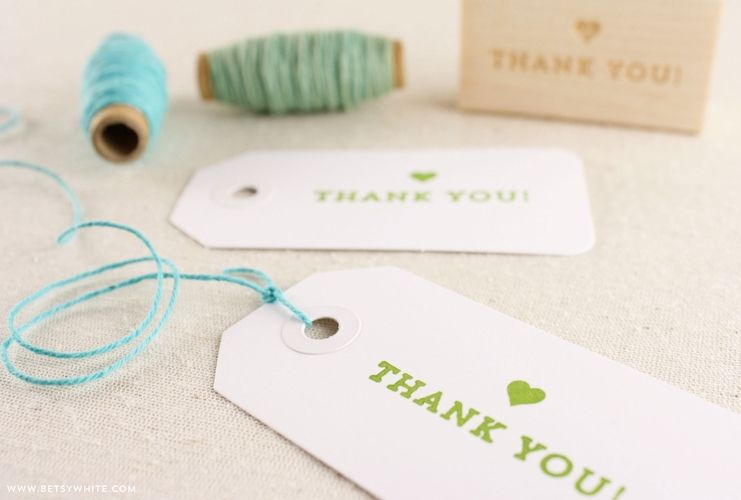 Heart Thank You Stamp by Betsywhite Stationery