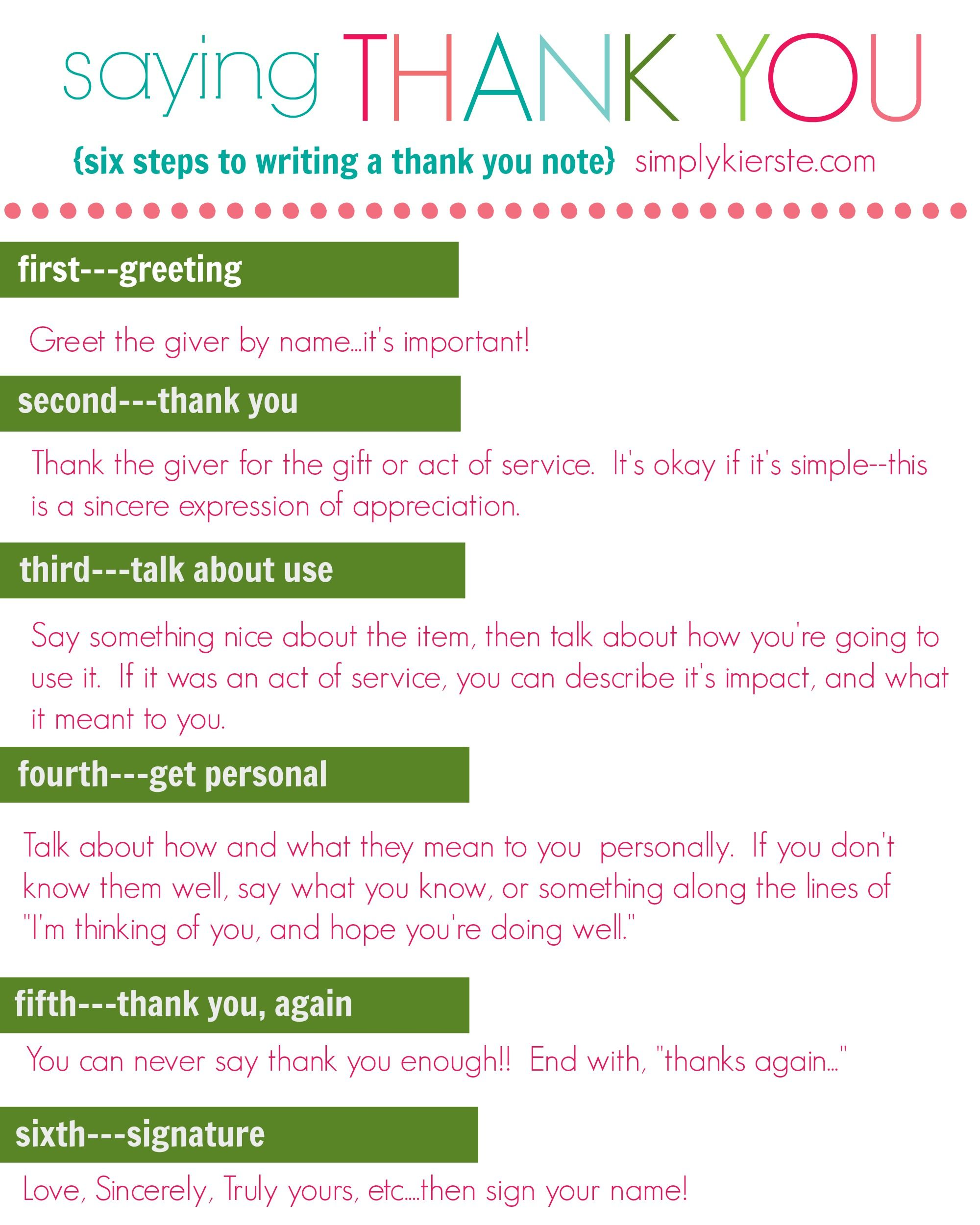 How To Write A Thank You Note  Printable Tags  Etiquette Note
