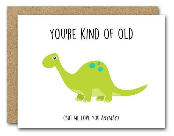 Printable Dinosaur Birthday Card Instant Download Funny
