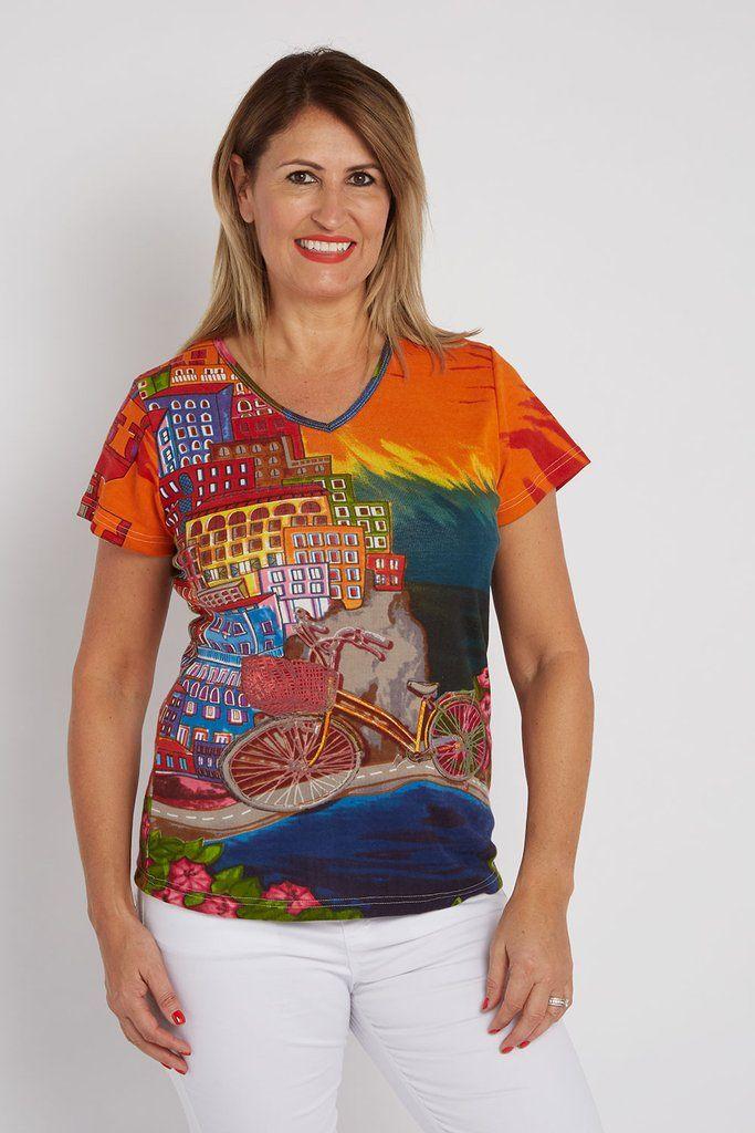 7953327a6028 Orientique T-Shirt V-neck Italian Story