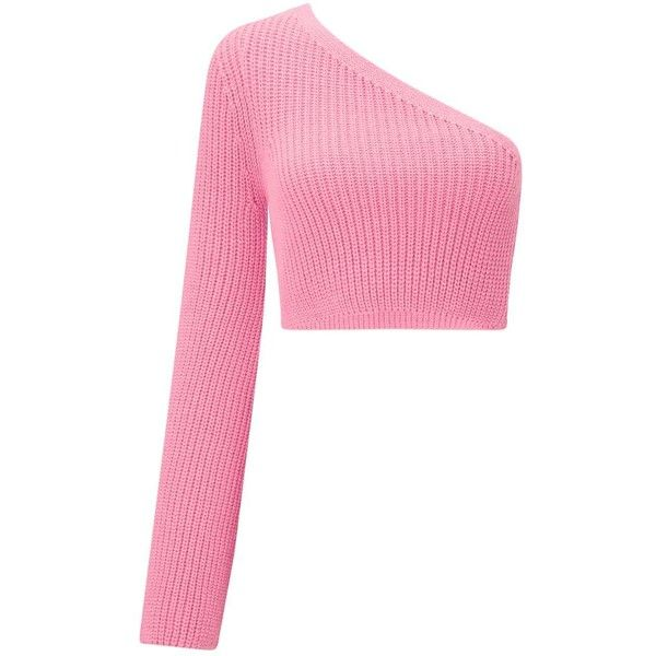 3e2e25c0bb3a2 Miss Selfridge Pink One Sleeve Crop Knitted Jumper ( 49) ❤ liked on Polyvore  featuring tops
