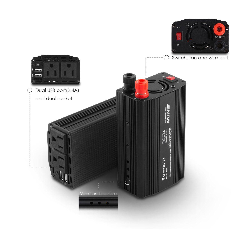 Amazon.com: SNAN 300W DC 12V to AC 110V Car Power Inverter with Dual ...