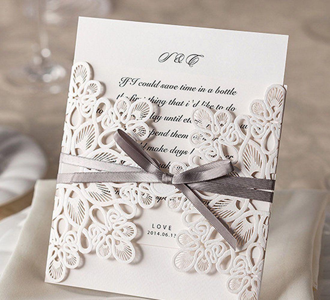 Wishmade Einladungskarten Für Hochzeit Geburtstag Taufe Weiß