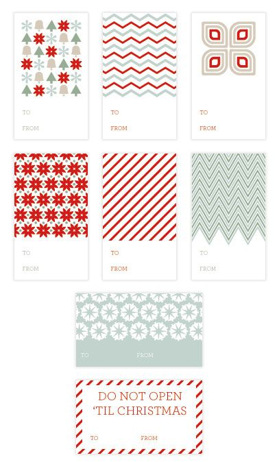 Printable Holiday Tags of Christmas Past
