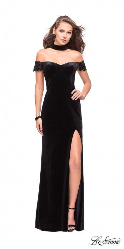 Evening Dress with Choker Neckline