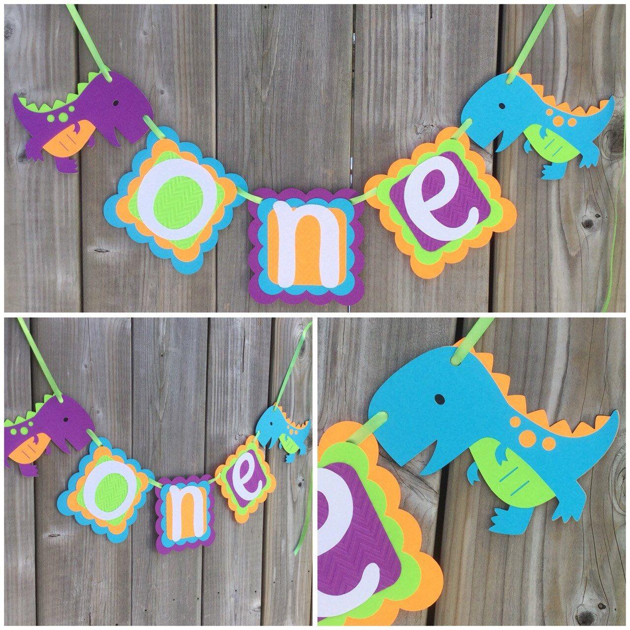 Dinosaur First Birthday banner First Birthday Banner One High Chair Banner,Banner, Dinosaur High Chair Banner High Chair Banner