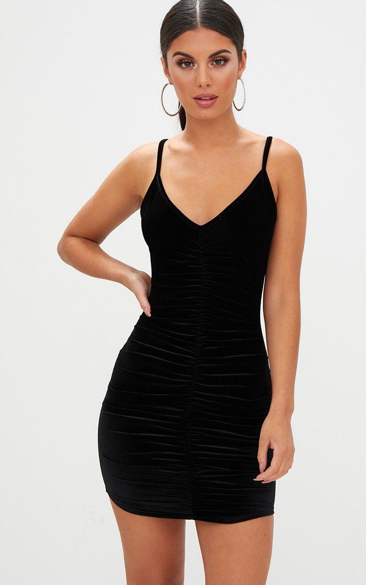 ccd699c698 Black Velvet Strappy Ruched Plunge Bodycon DressLook lush in velvet girl  with this smokin  hot bo.