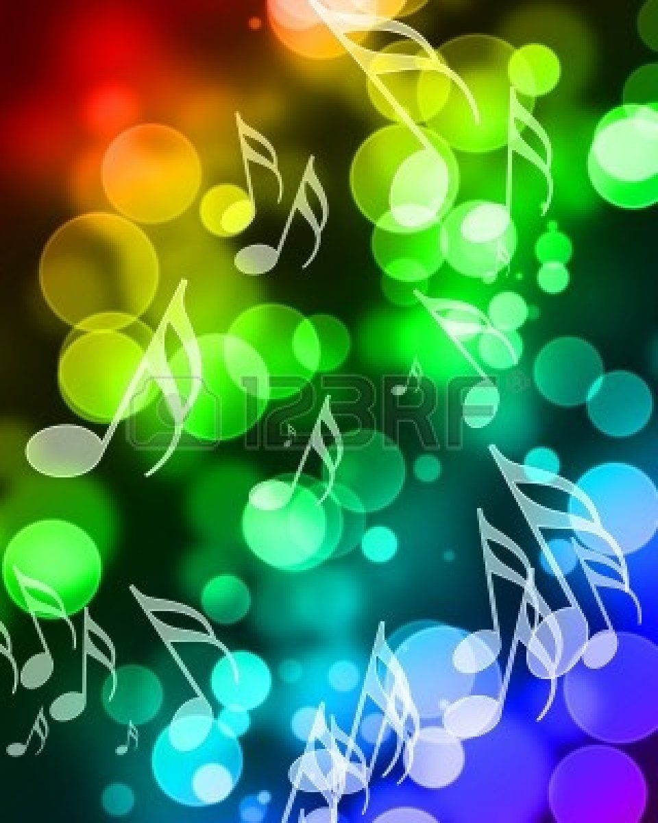 Rainbow Music Notes Background