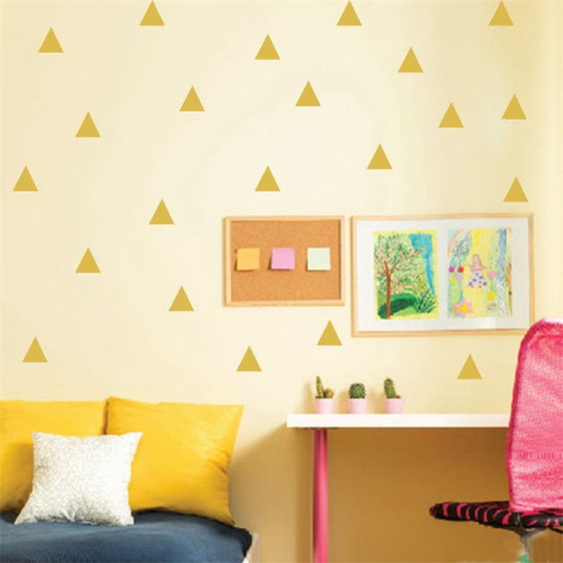 48pcs/sheet Mini Triangles Wall Sticker Kids Room Wall Decoration ...