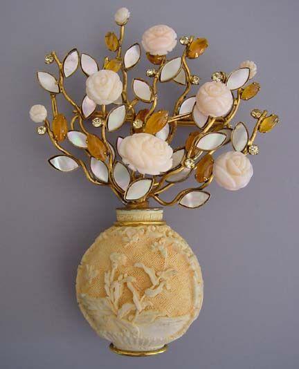 Ivory Mother Of Pearl Floor Vase In 2019: IRADJ MOINI For Oscar De La Renta Vase Brooch Of Ivory