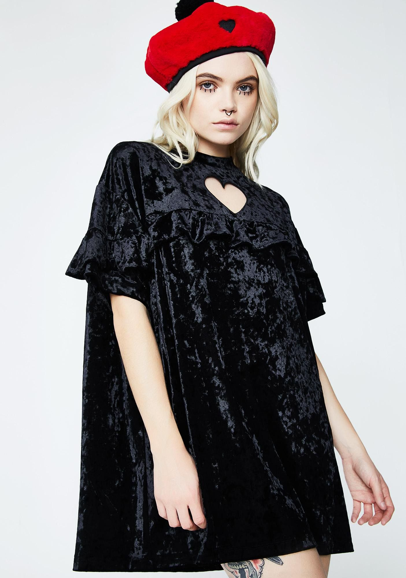 8dbd4448b7 Lazy Oaf Crushed Heart Frilly Tee cuz you break hearts on the daily. This  black