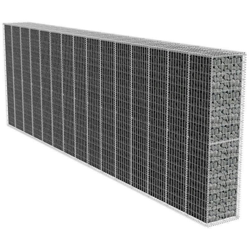 Gabionenwand mit Abdeckung Verzinkter Stahl 600x50x200 cm