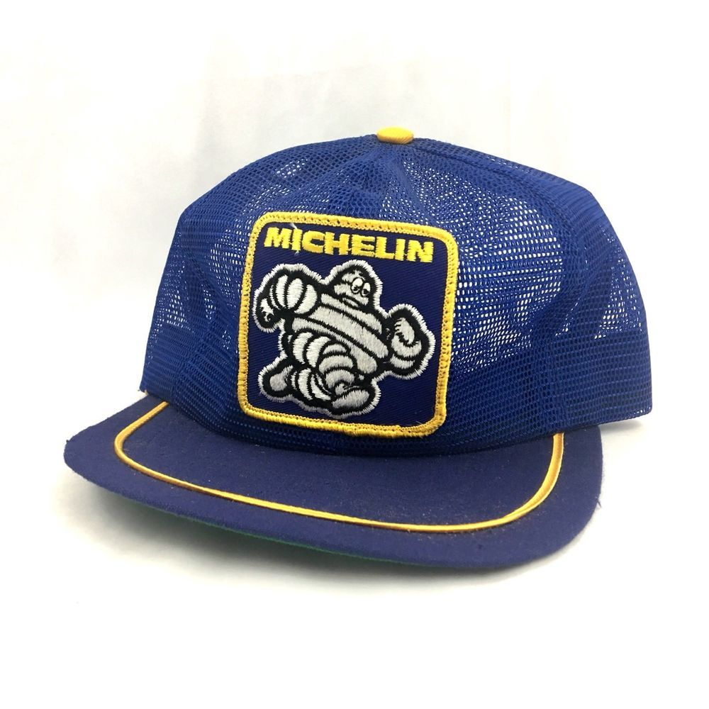 Vintage Michelin Man Hat SnapBack Trucker Full Mesh Cap Blue Tire Swingster   3cdebdc2bc28
