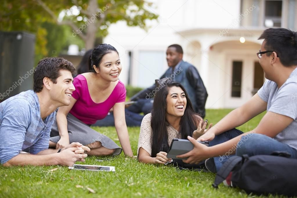 Group Of University Students Working Outside Together Royalty Free Stock Images Affiliate Students Worki University Student Student Work Student Picture