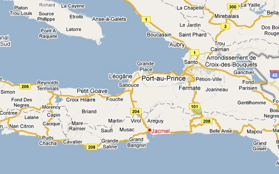 map of Port to Jacmel what this doesnt show is the narrow road