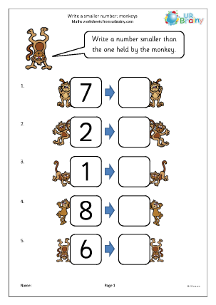 Ordering Numbers Maths Worksheets For Later Reception Age 4 5 Math Worksheet Ordering Numbers Writing