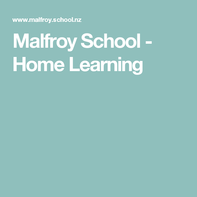 Malfroy School Home Learning – School Home Worksheets