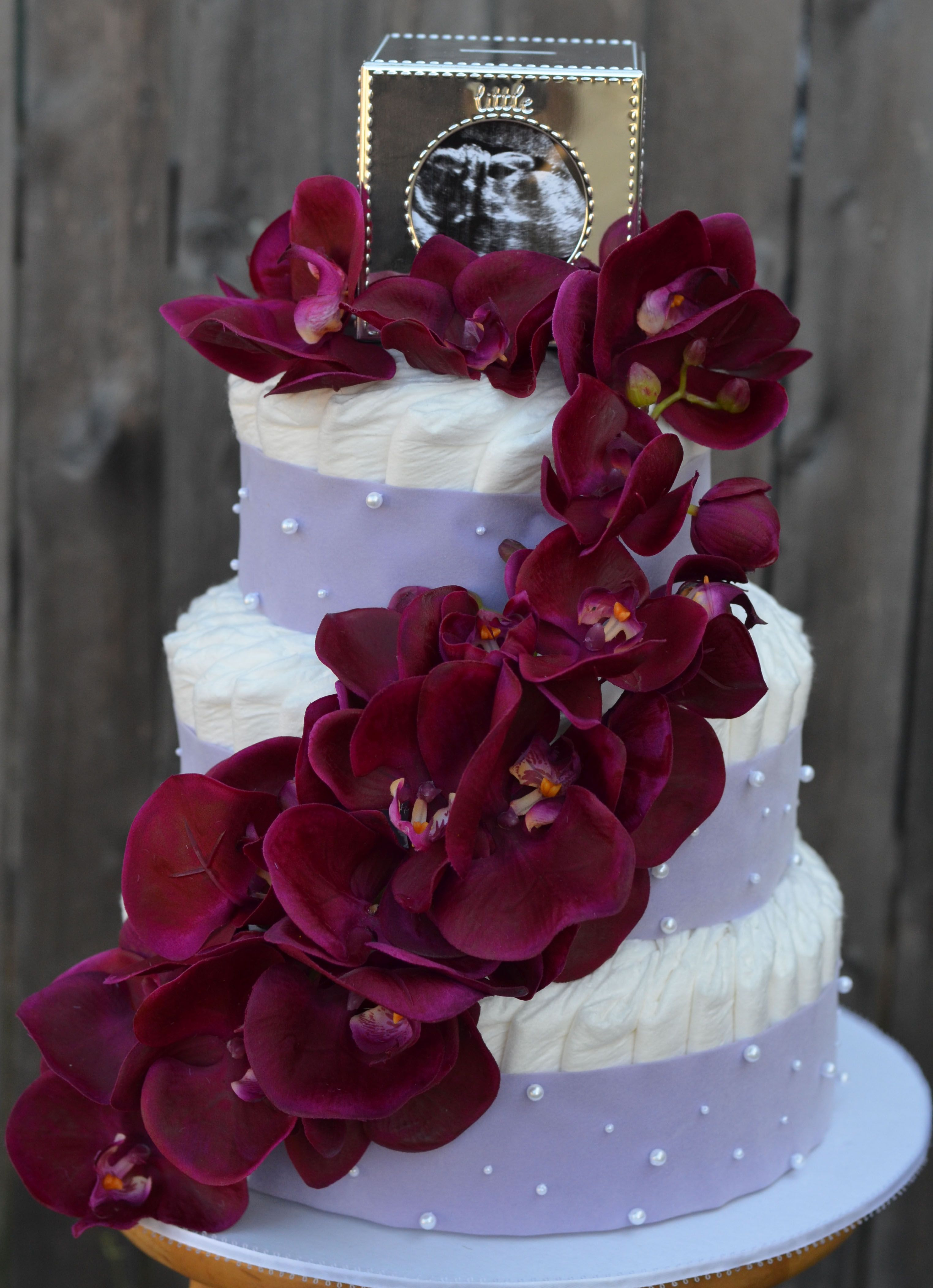 ORCHID 3 TIER DIAPER CAKE