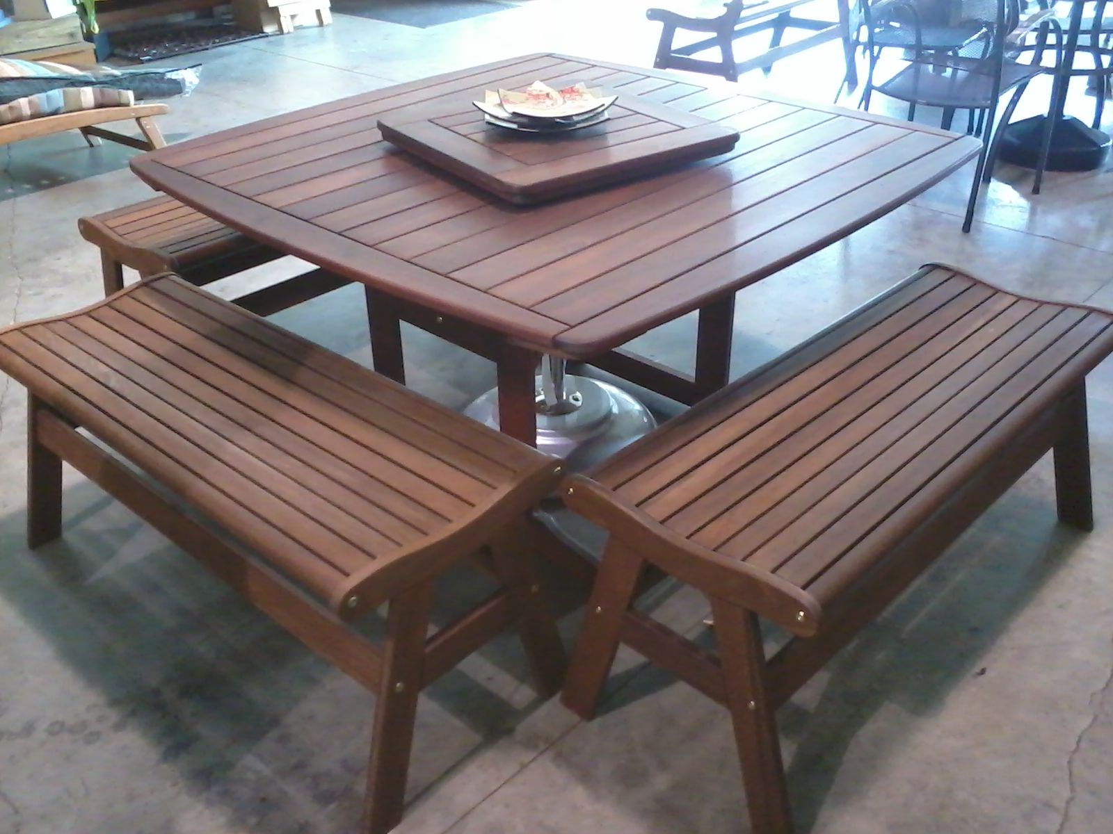 Jensen Jarrah Vasse Table With 4 Ipe Benches Wood Work