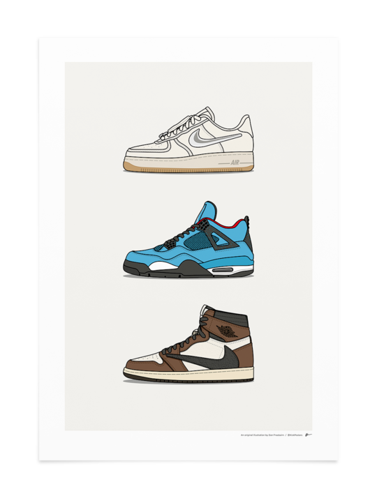 Triple Travis Scott X Nike Travisscottwallpapers Unframed Print Only Available In A2 Or A3 Siz Sneakers Wallpaper Sneaker Art Travis Scott Wallpapers