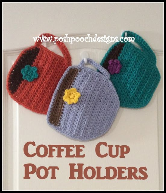 Coffee Cup Hot Pad Crochet Pattern #crochetpotholderpatterns