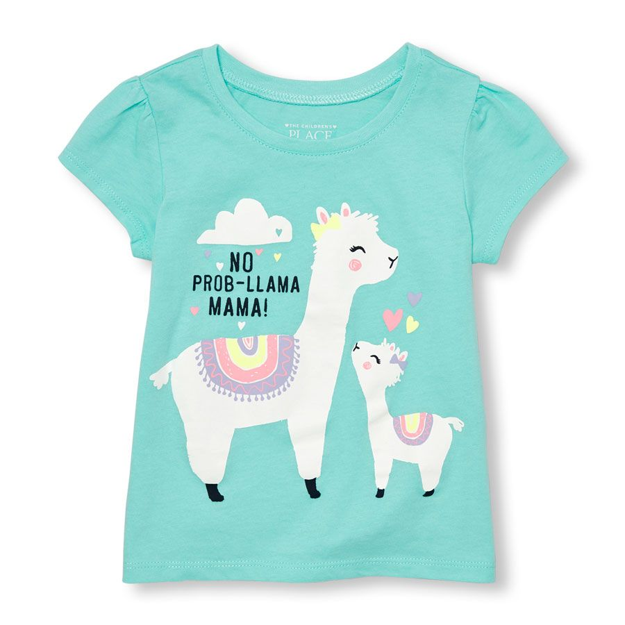 Llama Little Girls Short Sleeve Cotton Tee No Prob