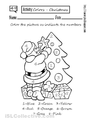 Colour By Number Christmas Worksheets Holiday Worksheets Holiday Worksheets Kindergarten