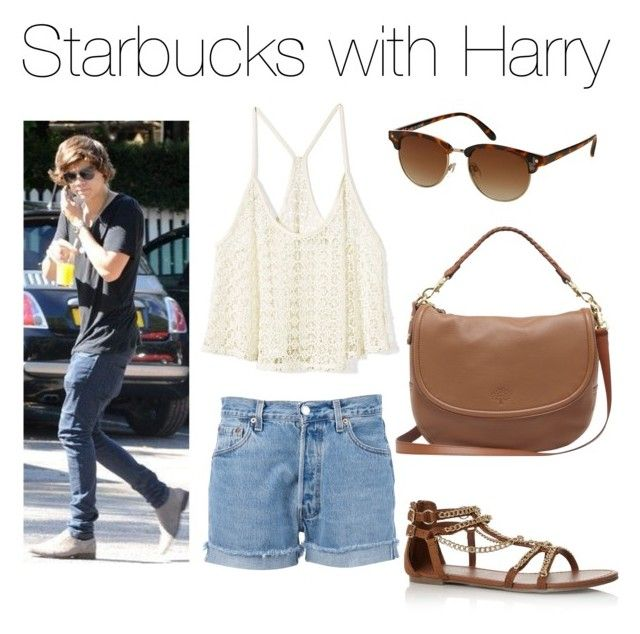 """""""Starbucks with Harry"""" by outfits-with-one-direction ❤ liked on Polyvore featuring Victoria's Secret, Topshop, Mulberry, women's clothing, women, female, woman, misses and juniors"""