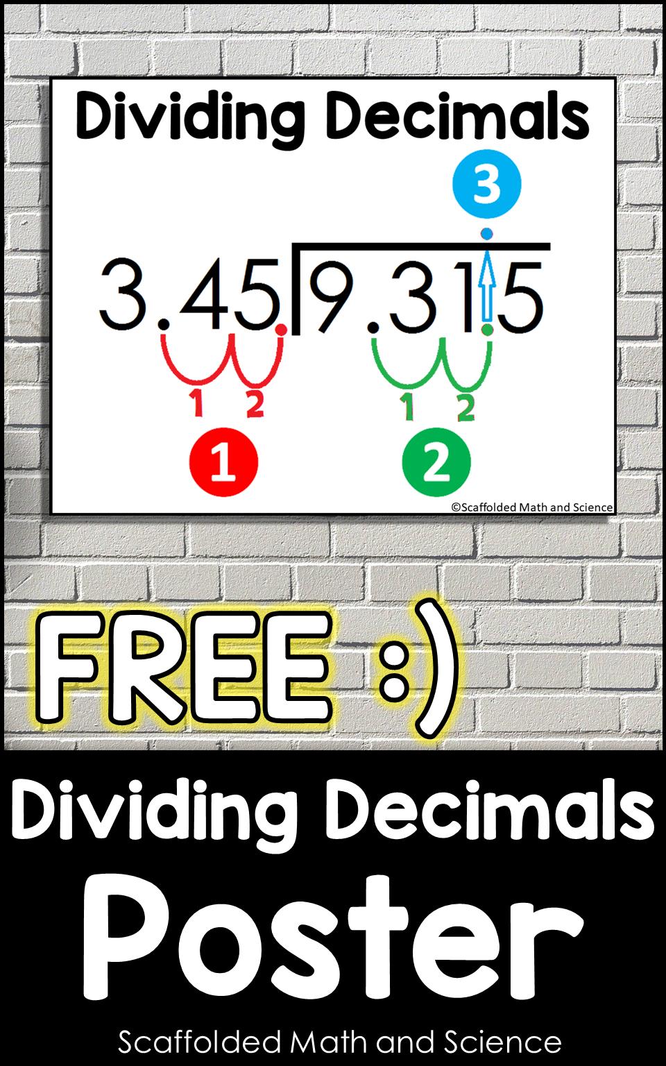 Dividing Decimals Poster Math Words Math Word Walls Math Classroom Posters [ 1536 x 960 Pixel ]