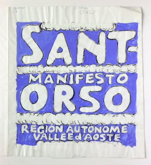 Franco Balan  Manifesto Sant-Orso Region Autonome Valle d'Aosta  Progetto grafico e disegno di Franco Balan.