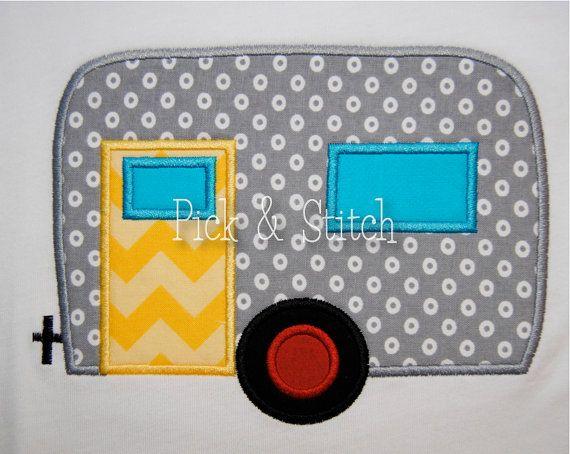 Camper airstream fifth wheel applique design machine embroidery