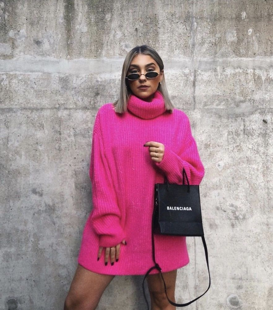 30a15511a374 NWT ZARA NEON PINK OVERSIZED SWEATER Knit Oversize Size S Ref.6873/127 #ZARA  #TurtleNeck #Casual